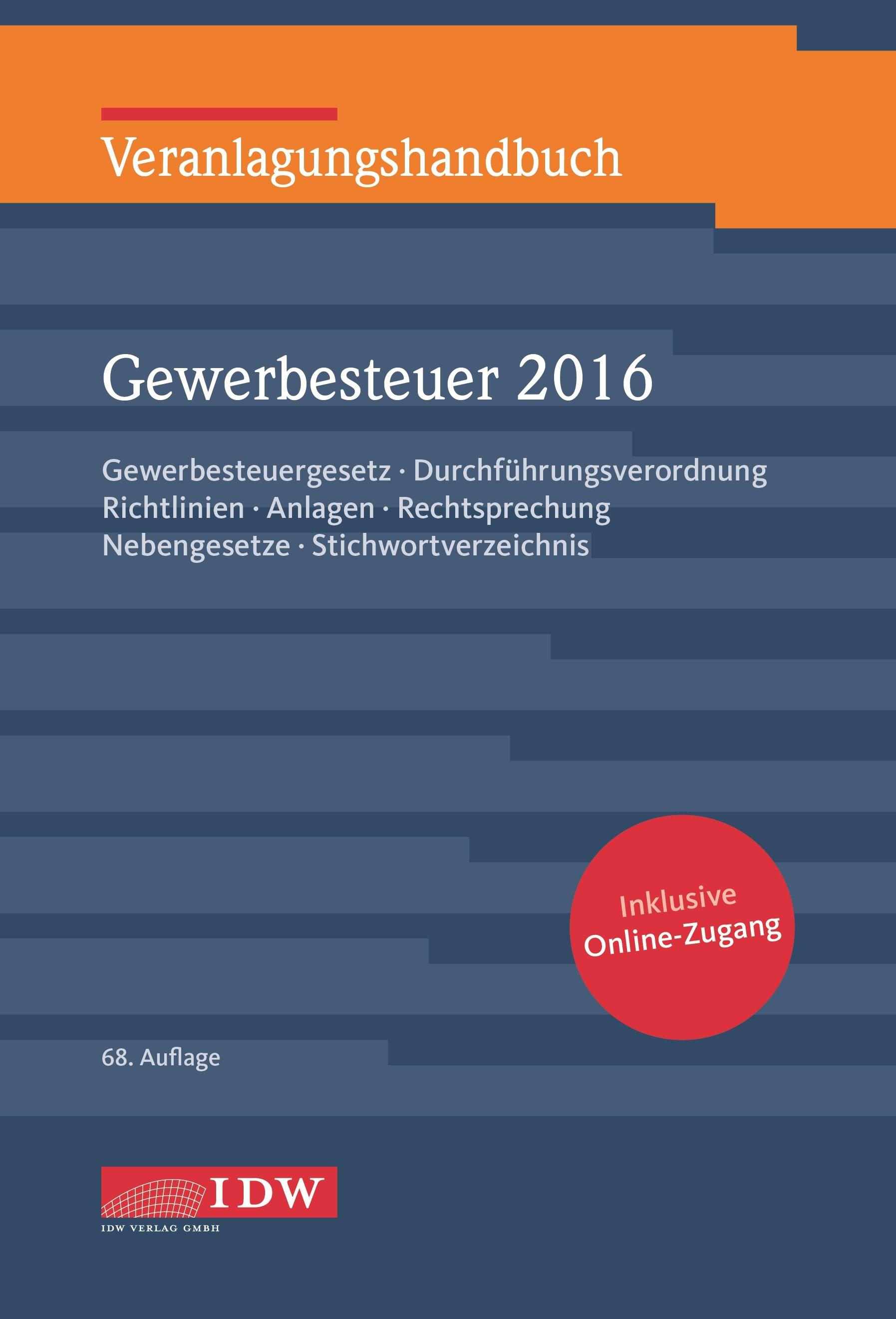 Veranlagungshandbuch Gewerbesteuer 2016 | Institut der Wirtschaftsprüfer / Boveleth | 66. Auflage, 2017 (Cover)