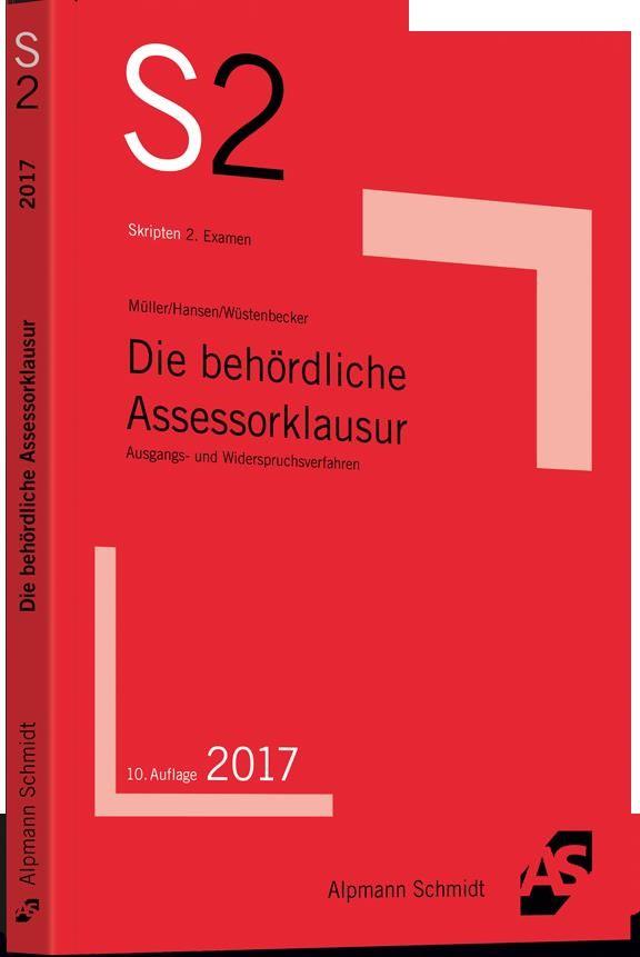 Die behördliche Assessorklausur   Müller / Hansen / Wüstenbecker   10. Auflage, 2017   Buch (Cover)
