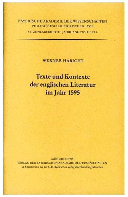 Cover: , Texte und Kontexte der englischen Literatur im Jahr 1595