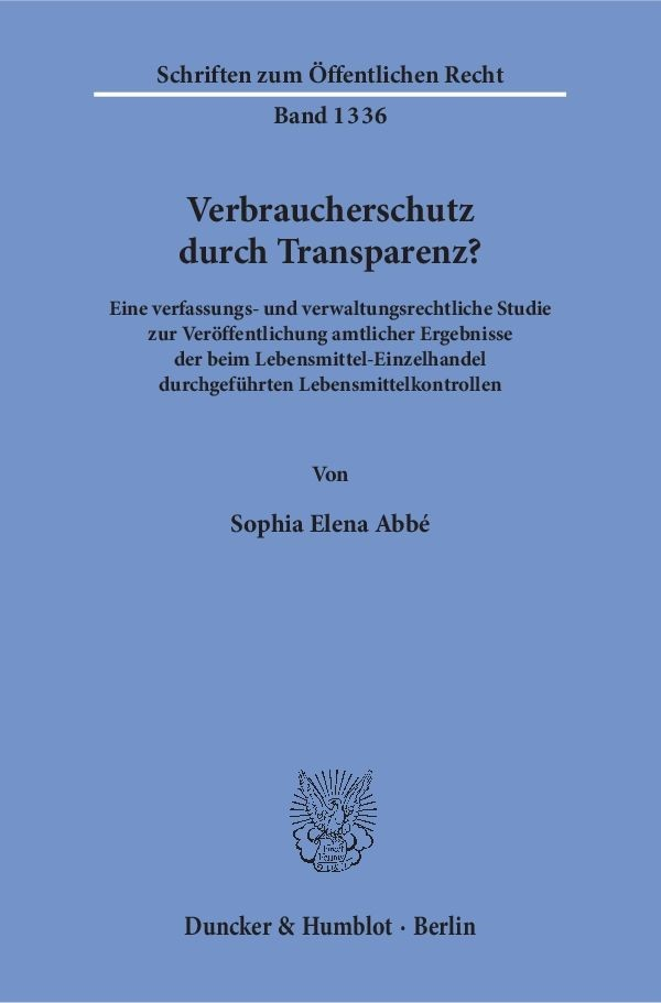Verbraucherschutz durch Transparenz? | Abbé | 1. Auflage, 2016 | Buch (Cover)