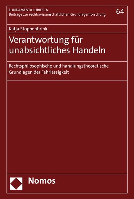 Verantwortung für unabsichtliches Handeln | Stoppenbrink, 2019 | Buch (Cover)