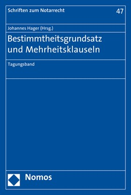 Abbildung von Hager   Bestimmtheitsgrundsatz und Mehrheitsklauseln   1. Auflage   2017   beck-shop.de