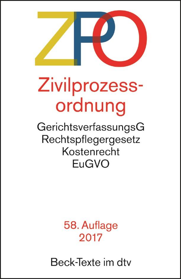 Zivilprozessordnung: ZPO | 58., überarbeitete Auflage, 2017 | Buch (Cover)