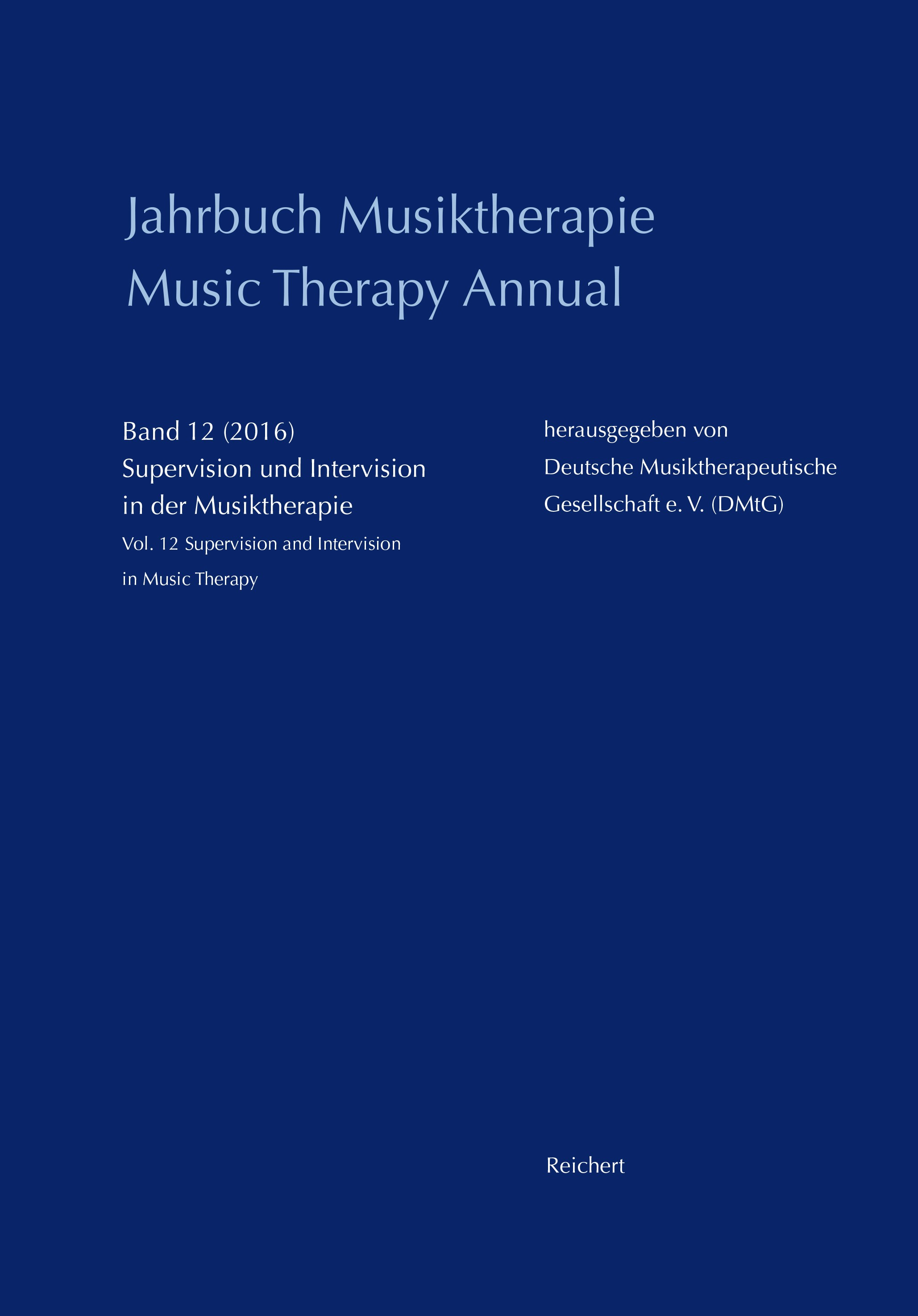 Jahrbuch Musiktherapie / Music Therapy Annual, 2016 | Buch (Cover)