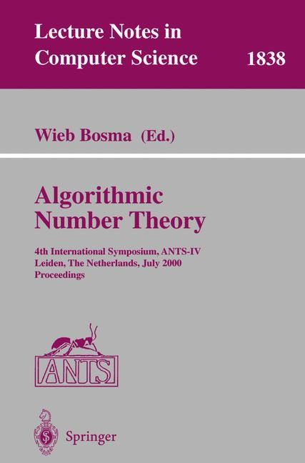 Algorithmic Number Theory | Bosma, 2000 | Buch (Cover)