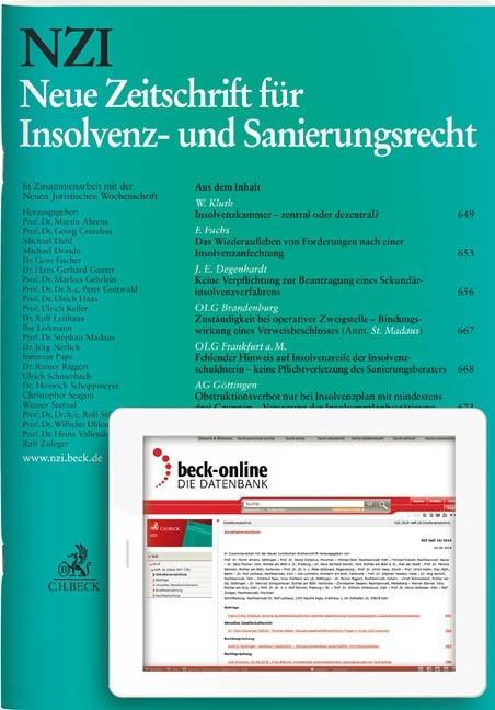 Abbildung von NZI • Neue Zeitschrift für Insolvenz- und Sanierungsrecht | 22. Jahrgang | 2019