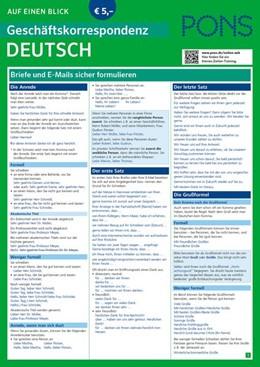 Abbildung von PONS Geschäftskorrespondenz auf einen Blick Deutsch | 1. Auflage | 2017 | beck-shop.de