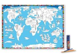 Abbildung von Malkarte Welt Poster mit 12 hochwertigen Buntstiften in dekorativer Buntstiftdose | 1. Auflage | 2017