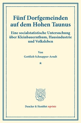 Abbildung von Schnapper-Arndt | Fünf Dorfgemeinden auf dem Hohen Taunus | 2016 | Eine socialstatistische Unters...