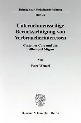 Abbildung von Wenzel | Unternehmensseitige Berücksichtigung von Verbraucherinteressen. | 1998 | Customer Care und das Fallbeis... | 32
