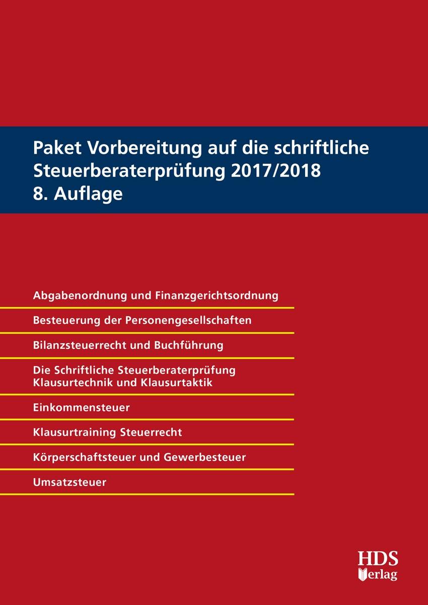 Vorbereitung auf die schriftliche Steuerberaterprüfung 2017/2018 • Set   Maus / Endlich / Fränznick u.a.   8. Auflage, 2017   Buch (Cover)