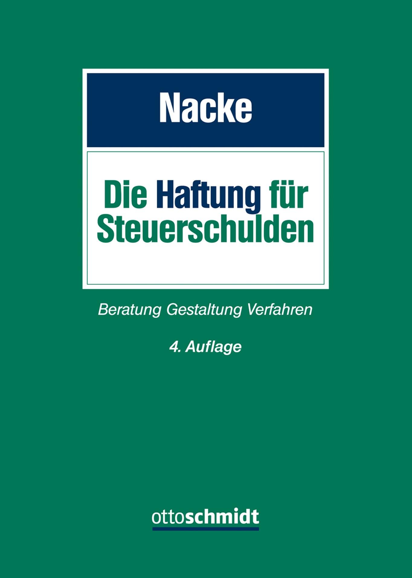 Haftung für Steuerschulden | Nacke | 4., neu bearbeitete Auflage, 2017 | Buch (Cover)