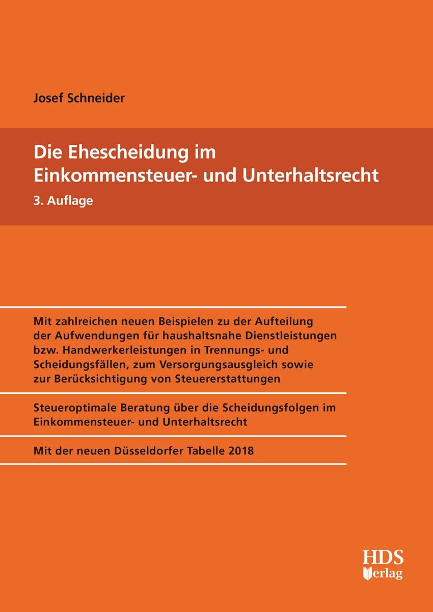 Die Ehescheidung im Einkommensteuer- und Unterhaltsrecht | Schneider | 3. Auflage, 2017 | Buch (Cover)