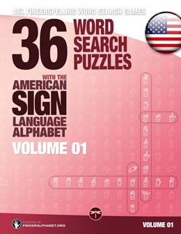 Abbildung von 36 Word Search Puzzles with the American Sign Language Alphabet - Volume 01   2017   ASL Fingerspelling Word Search...