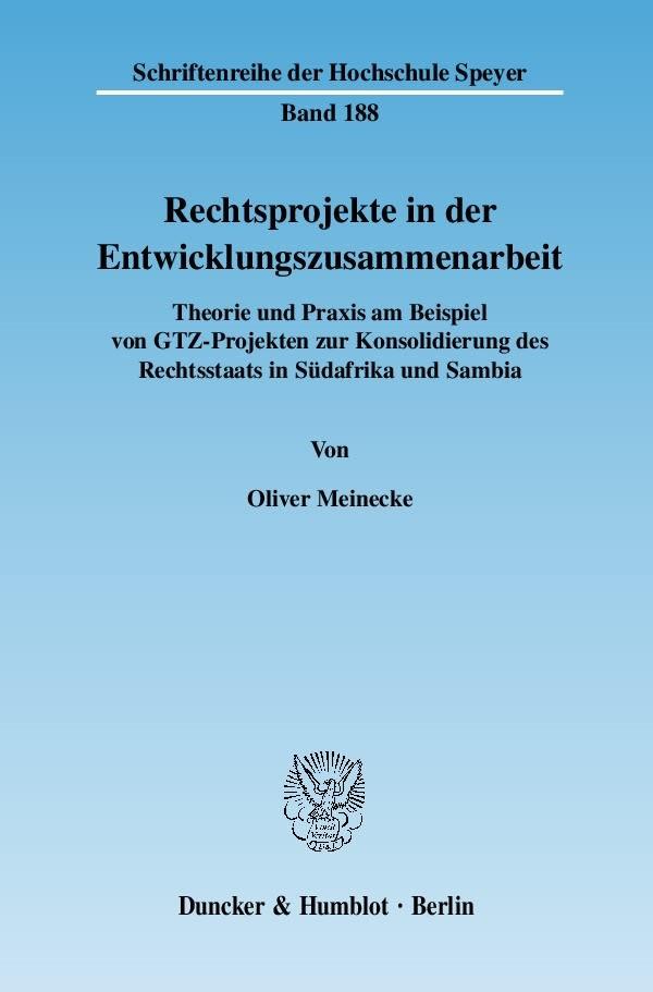 Abbildung von Meinecke | Rechtsprojekte in der Entwicklungszusammenarbeit. | 2007