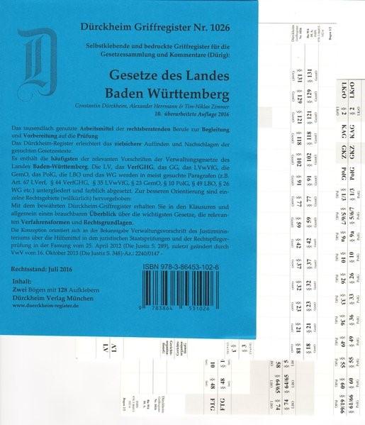 Dürckheim-Register - Verwaltungsgesetze Baden-Württemberg (Dürig) | v. Dürckheim | 10. Auflage, 2017 (Cover)