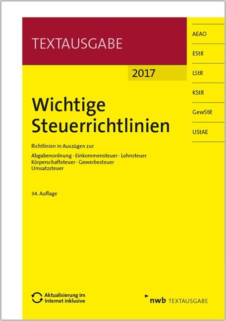 Wichtige Steuerrichtlinien - 2017 | Walkenhorst | 34. Auflage, 2017 (Cover)