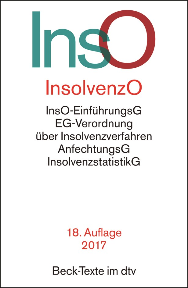 Insolvenzordnung: InsO | 18. Auflage, 2017 | Buch (Cover)