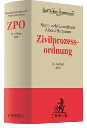 Zivilprozessordnung: ZPO | Baumbach / Lauterbach / Albers / Hartmann | 76., neu bearbeitete Auflage, 2017 | Buch (Cover)