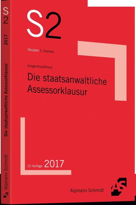 Die staatsanwaltliche Assessorklausur | Krüger / Kock / Rieck | 10. Auflage, 2017 | Buch (Cover)