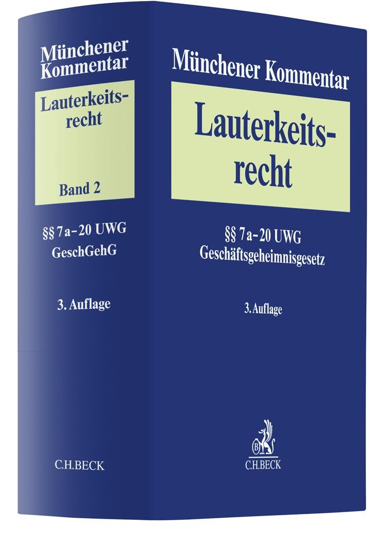 Abbildung von Münchener Kommentar zum Lauterkeitsrecht (UWG),  Band 2: §§ 8-20 UWG | 3. Auflage | 2019