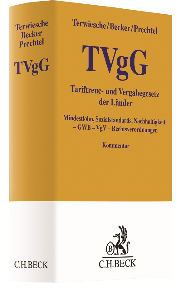 Tariftreue- und Vergabegesetz der Länder: TVgG | Terwiesche / Becker / Prechtel, 2018 | Buch (Cover)
