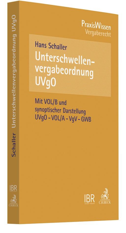 Unterschwellenvergabeordnung (UVgO) | Schaller, 2017 | Buch (Cover)
