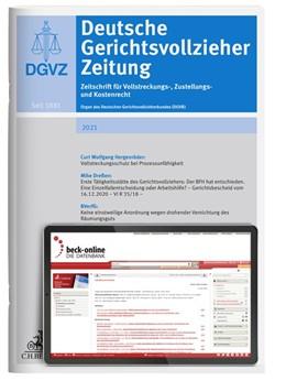 Abbildung von DGVZ • Deutsche Gerichtsvollzieher Zeitung | 133. Auflage | 2021 | beck-shop.de