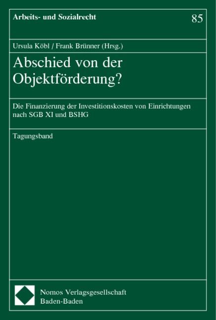 Abschied von der Objektförderung ? | Köbl / Brünner, 2004 | Buch (Cover)