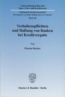 Abbildung von Becker | Verhaltenspflichten und Haftung von Banken bei Kreditvergabe. | 2003