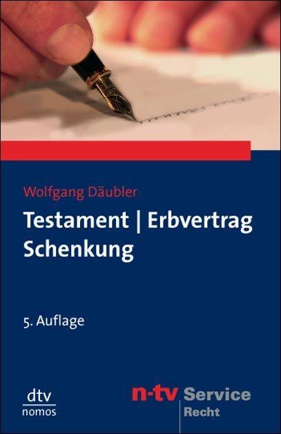 Abbildung von Däubler   Testament. Erbvertrag. Schenkung