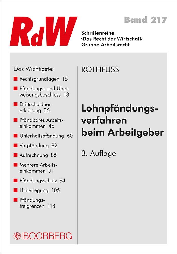 Lohnpfändungsverfahren beim Arbeitgeber | Rothfuss, 2017 | Buch (Cover)