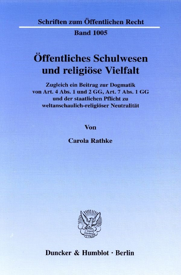 Abbildung von Rathke | Öffentliches Schulwesen und religiöse Vielfalt. | 2005
