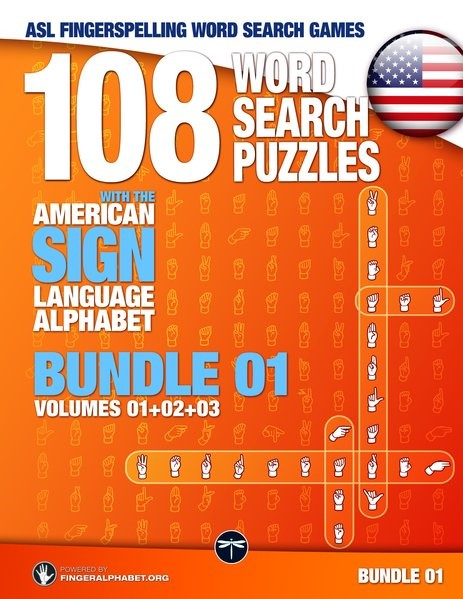 108 Word Search Puzzles with the American Sign Language Alphabet, Volume 04 (Bundle Volumes 01+02+03), 2017 | Buch (Cover)