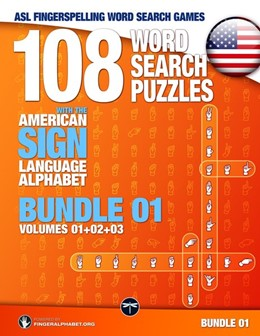 Abbildung von 108 Word Search Puzzles with the American Sign Language Alphabet, Volume 04 (Bundle Volumes 01+02+03) | 2017 | ASL Fingerspelling Word Search...