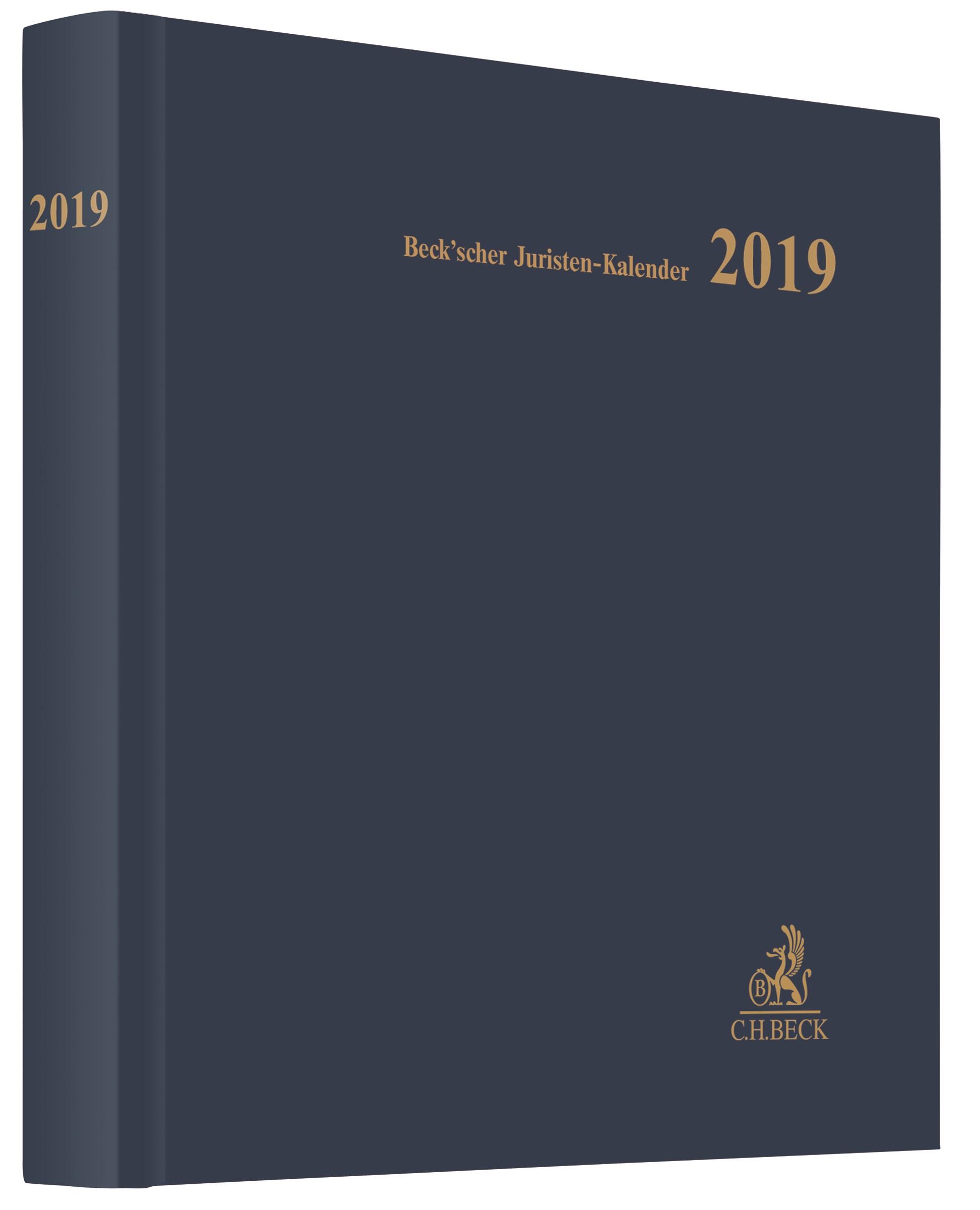 Beck'scher Juristen-Kalender 2019, 2018 | Buch (Cover)