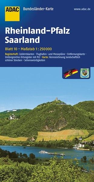 Abbildung von ADAC BundesländerKarte Deutschland 10. Rheinland-Pfalz und Saarland 1 : 250 000   4. Auflage, Laufzeit bis 2017   2017