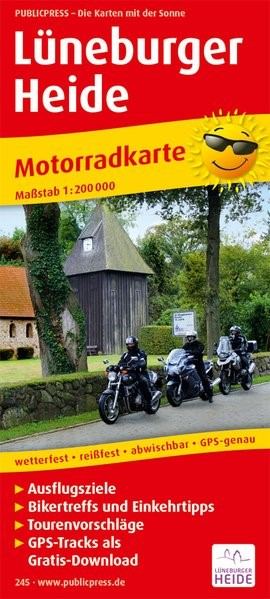 Motorradkarte Lüneburger Heide 1 : 200 000 | 4. Auflage, 2017 (Cover)