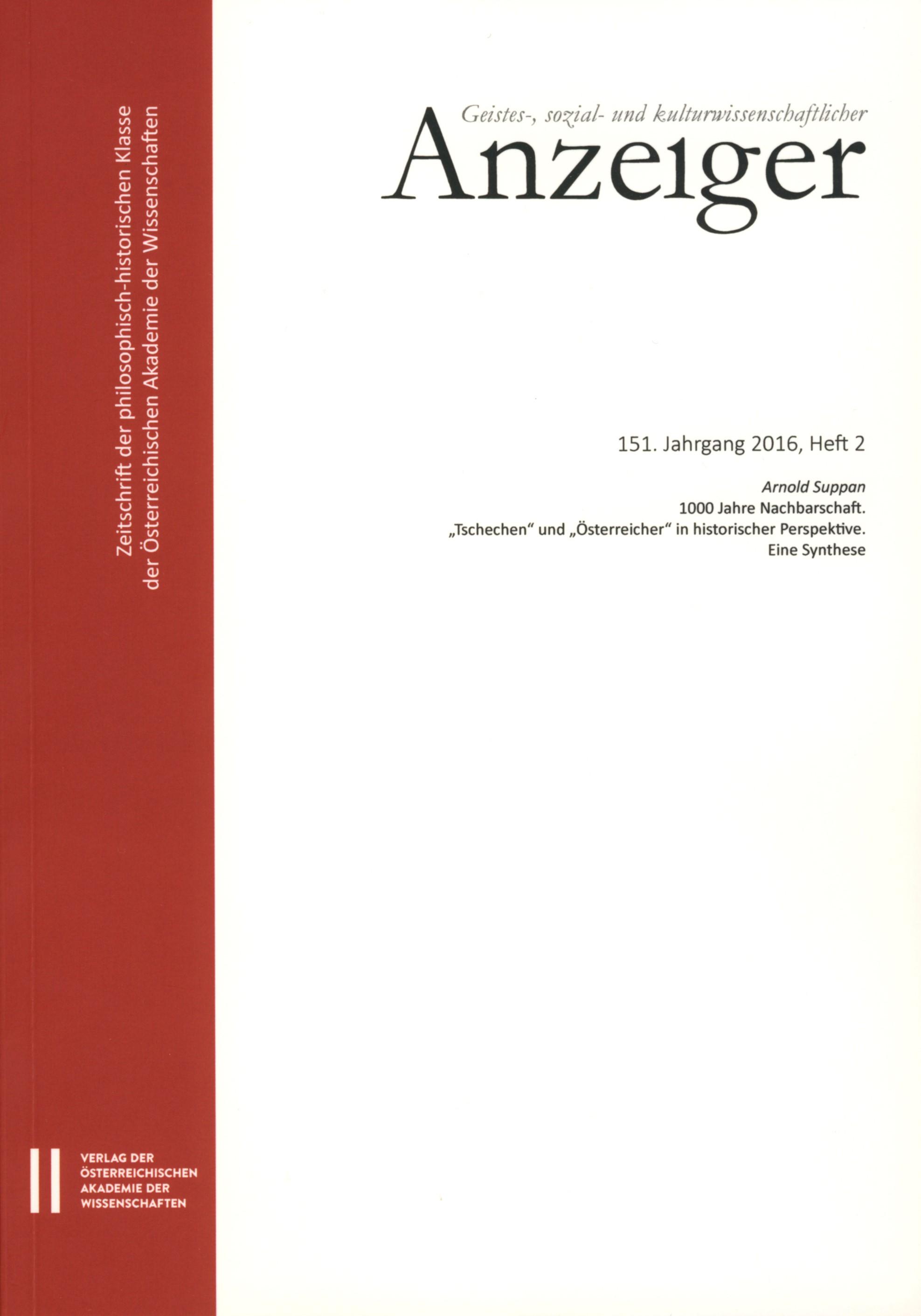 Geistes-, sozial-und kulturwissenschaftlicher Anzeiger 151. Jahrgang 2016, Heft 2 | Österreichische Akademie d. Wissenschaften / Suppan, 2017 | Buch (Cover)