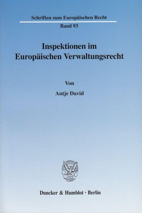Abbildung von David | Inspektionen im Europäischen Verwaltungsrecht. | 2003
