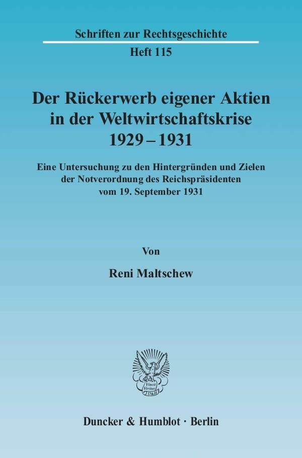 Abbildung von Maltschew | Der Rückerwerb eigener Aktien in der Weltwirtschaftskrise 1929 - 1931 | 2004