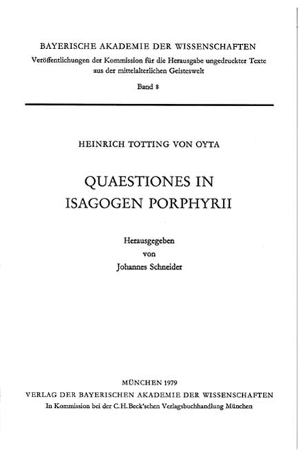 Cover: Heinrich Totting von Oyta, Quaestiones in Isagogen Porphyrii