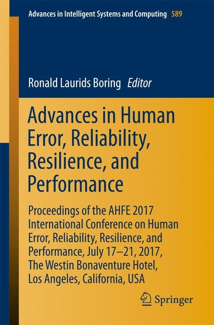 Advances in Human Error, Reliability, Resilience, and Performance | Boring | 1st ed. 2018, 2017 | Buch (Cover)