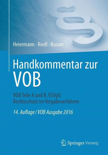 Handkommentar zur VOB | Heiermann / Riedl / Rusam | 14. Auflage, 2017 | Buch (Cover)