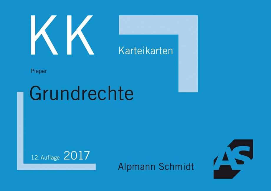 Karteikarten Grundrechte | Pieper | 12., neu bearbeitete und ergänzte Auflage, 2017 (Cover)