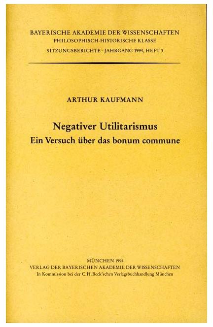 Cover: , Negativer Utilitarismus