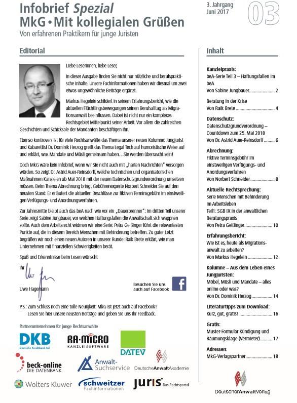 Infobrief Spezial MkG • Ausgabe 03/2017   3. Jahrgang (Cover)