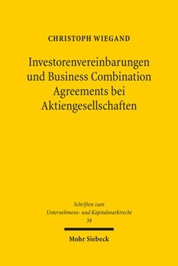 Abbildung von Wiegand | Investorenvereinbarungen und Business Combination Agreements bei Aktiengesellschaften | 1. Auflage | 2017