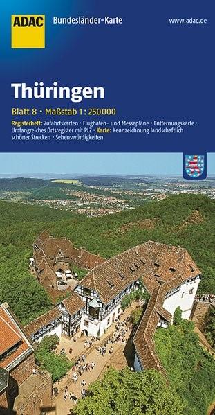 ADAC BundesländerKarte Deutschland 08. Thüringen 1 : 250 000   4. Auflage, 2017 (Cover)