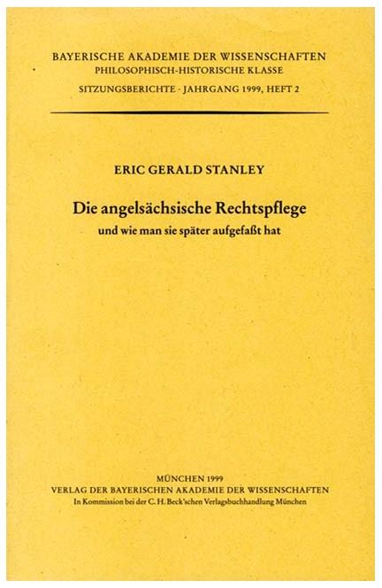 Cover: Eric Gerald Stanley, Die angelsächsische Rechtspflege